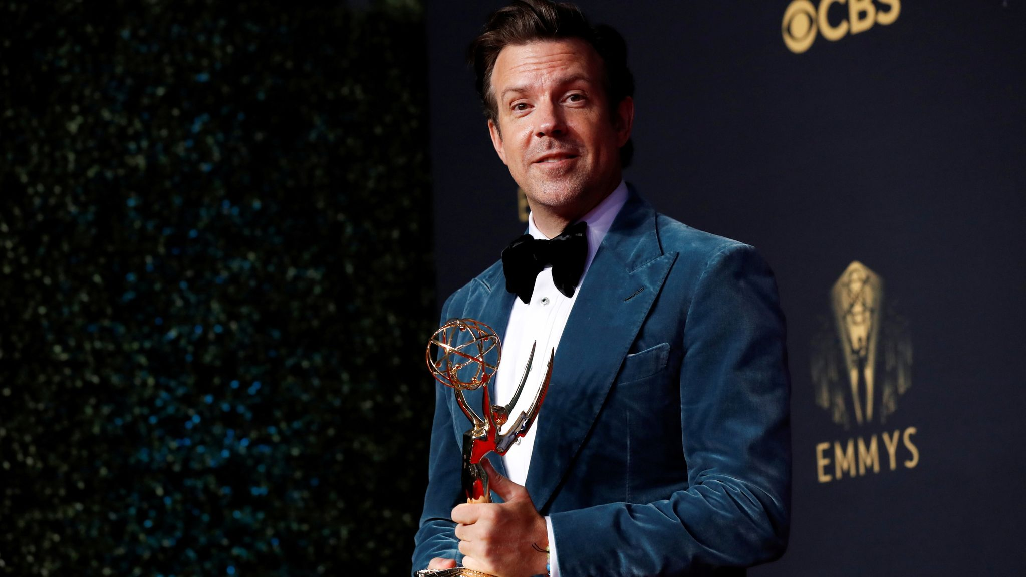 Jason Sudeikis with the Emmy award for outstanding lead actor in a comedy series, for Ted Lasso