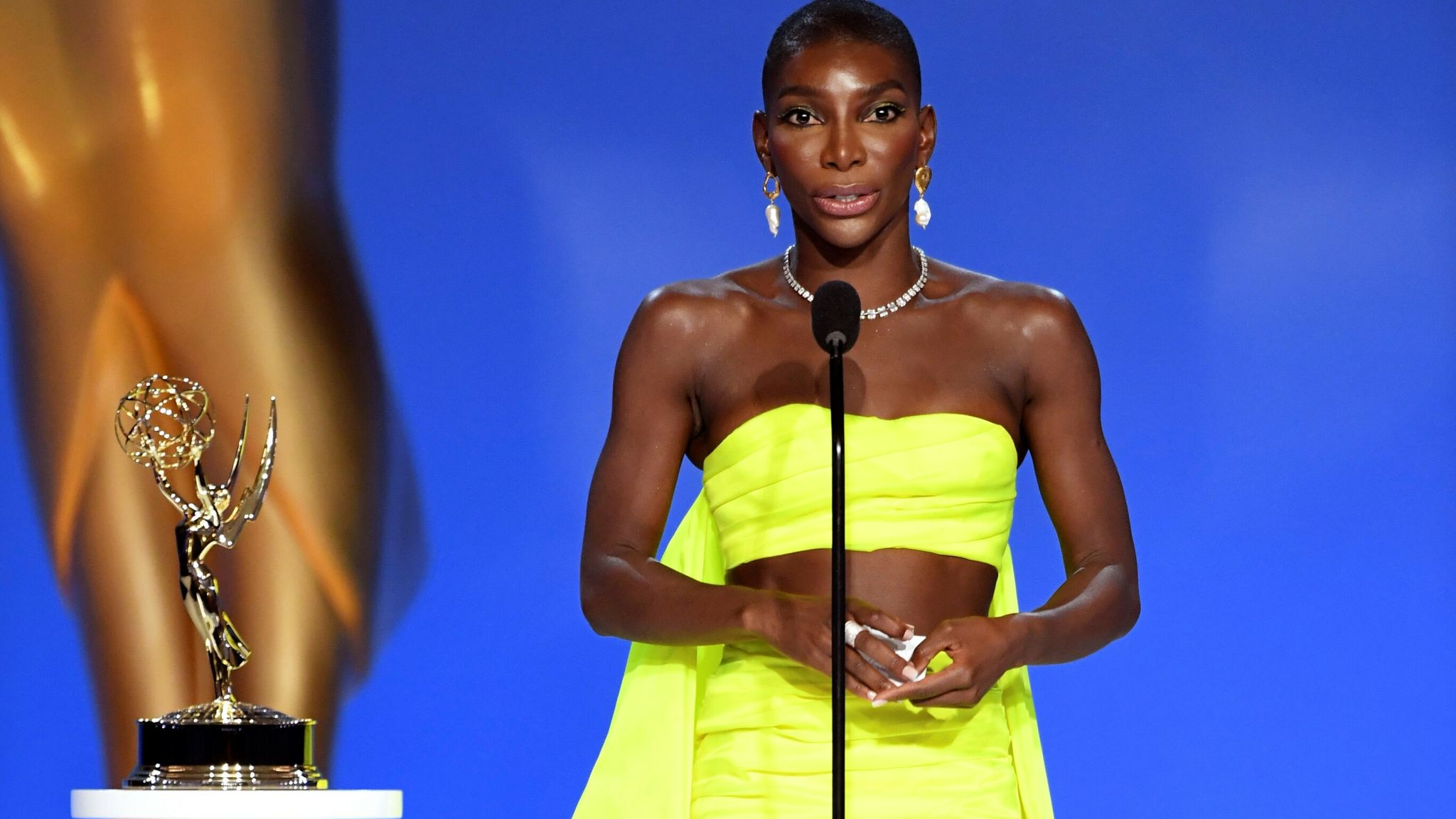 Michaela Coel accepts the award for outstanding writing for a limited or anthology series or movie for I May Destroy You at the Emmys in 2021. Pic: Phil McCarten/Invision/ Television Academy/AP