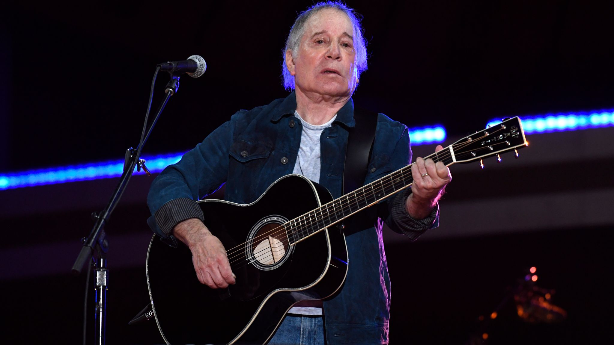 Paul Simon performed in New York for the global music event on Saturday night
