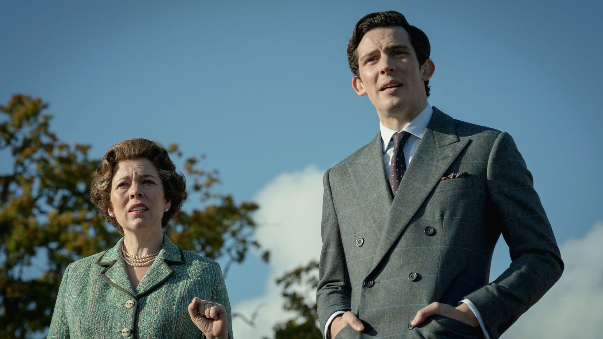 Olivia Colman as the Queen and Josh O'Connor as Prince Charles in first-look pictures from the upcoming fourth series of The Crown. Pic: Netflix